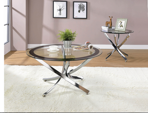 COA702588 Glass Top Chrome Coffee Table