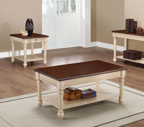 COA704418 Transitional Dark Brown/Antique White Coffee Table
