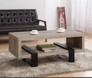 COA720878 Industrial Grey Driftwood Open Coffee Table