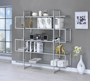 COA801304 Contemporary Silver Metal and Glass Bookcase