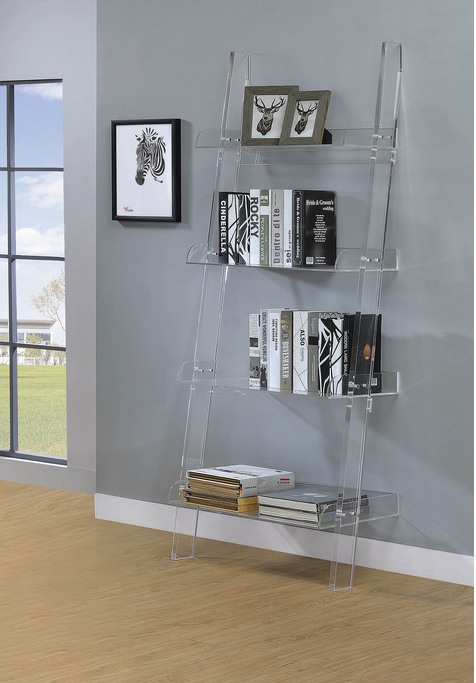 XCOA801553 Amaturo Clear Acrylic Ladder Bookcase