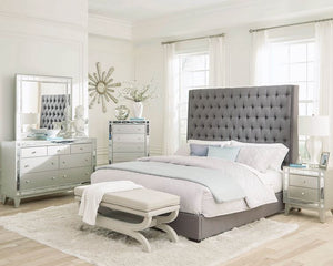 COA300621 - Camille Grey Upholstered Bed