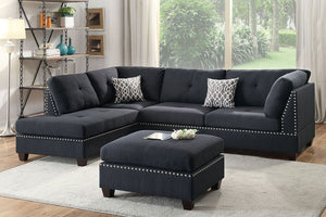 POU6974 Black Sectional w/ Ottoman
