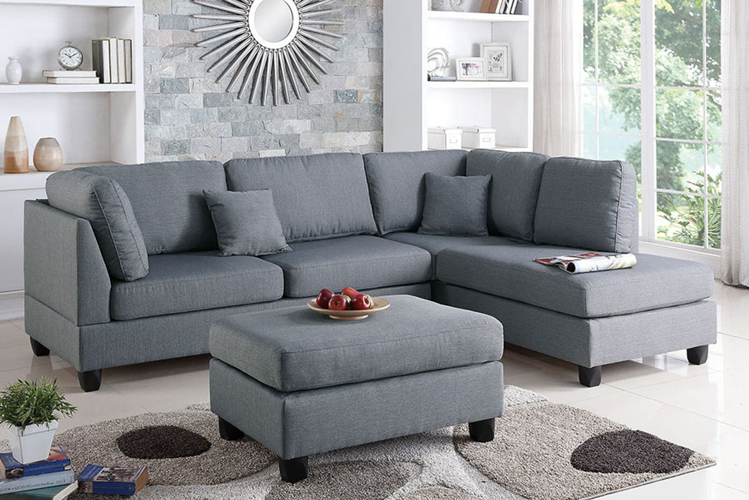 POU7606 Gray Sectional w/ Ottoman