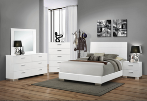COA203501 Felicity Contemporary Glossy White Queen Bed