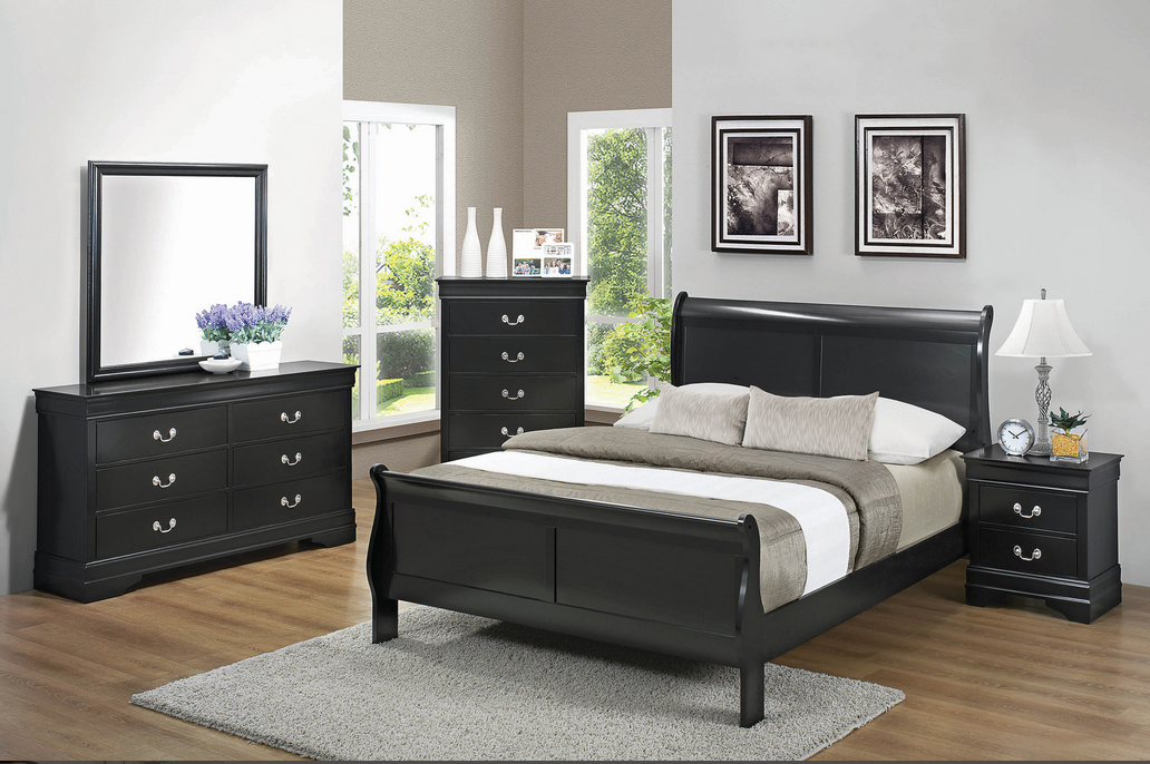 COA203961 Louis Philippe Bed Frame Only, Black