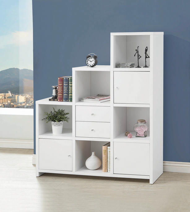 COA801169 Contemporary White Bookcase