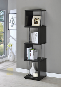COA801419 Modern Black Four-Tier Bookcase