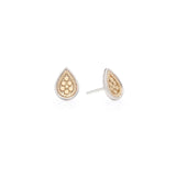 Teardrop Hammered Stud Earrings Sterling Silver & Plated Gold Anna Beck, - Stripes Fashion and Beauty