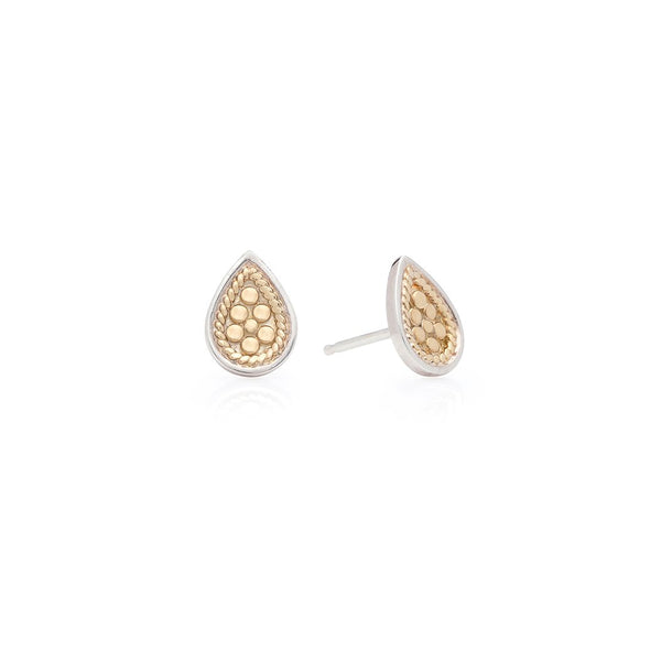 Teardrop Hammered Stud Earrings Sterling Silver & Plated Gold