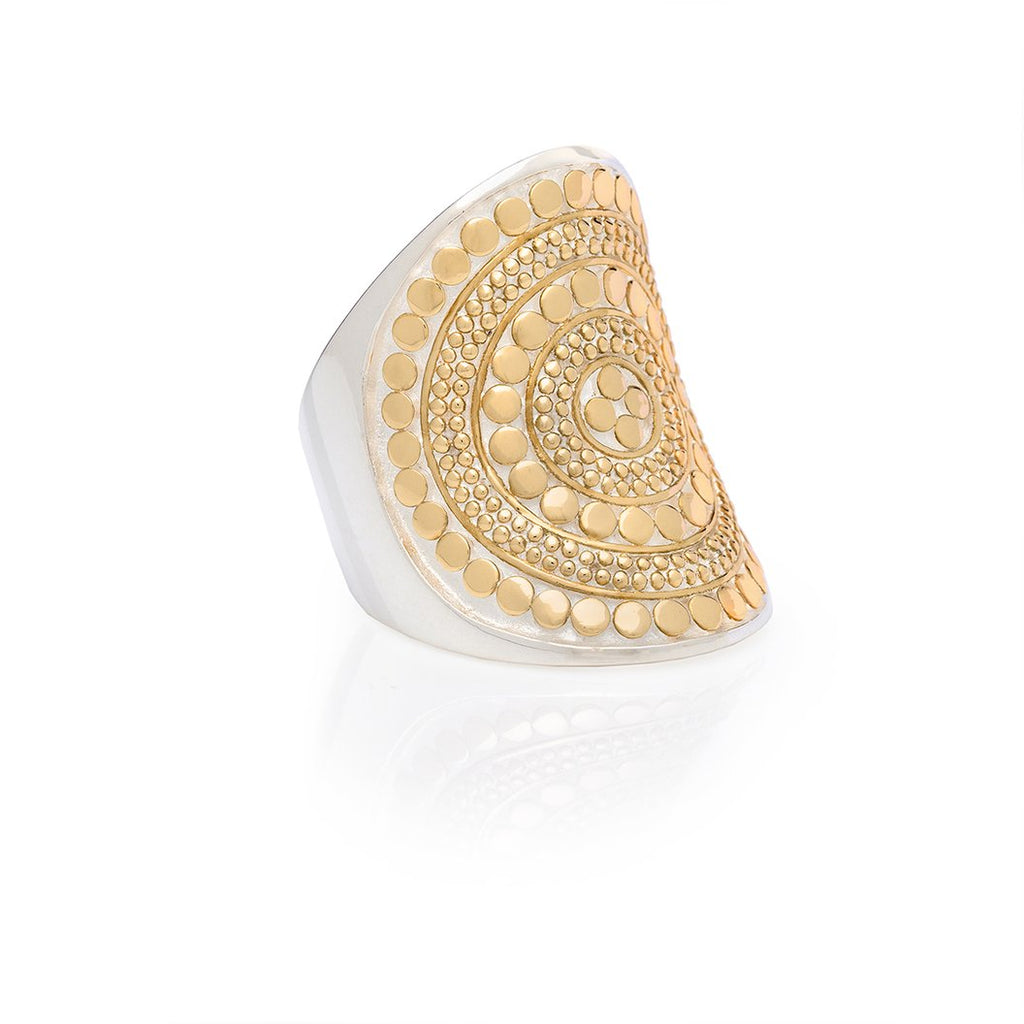 Classic Saddle Ring Gold Anna Beck, - Stripes Fashion and Beauty