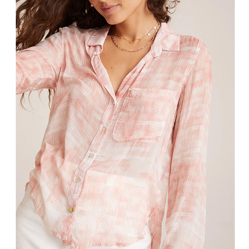 Rounded Hem Button Down Coral Bella Dahl, - Stripes Fashion and Beauty