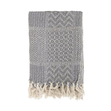 Throw Recycled Cotton Grey Bloomingville, - Stripes Fashion and Beauty