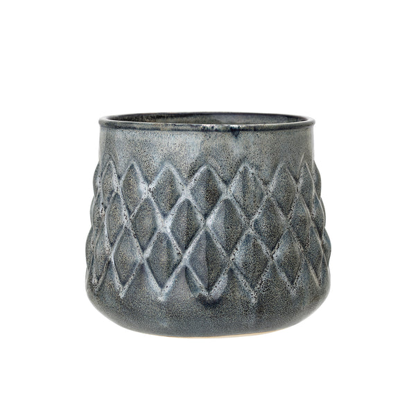 Flowerpot Blue Stoneware Bloomingville, - Stripes Fashion and Beauty