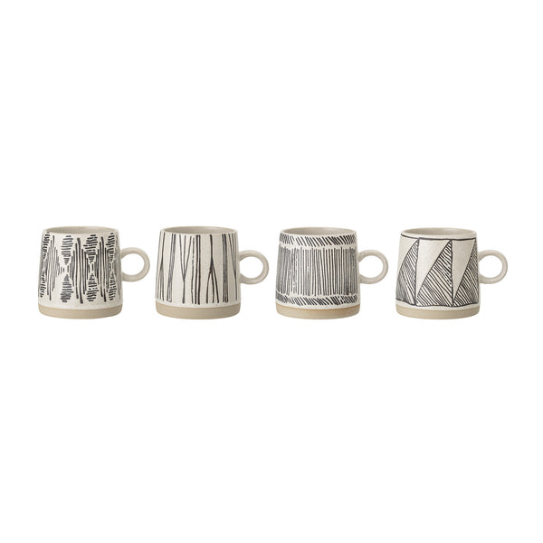Eliana Mug Black Stoneware Bloomingville, - Stripes Fashion and Beauty