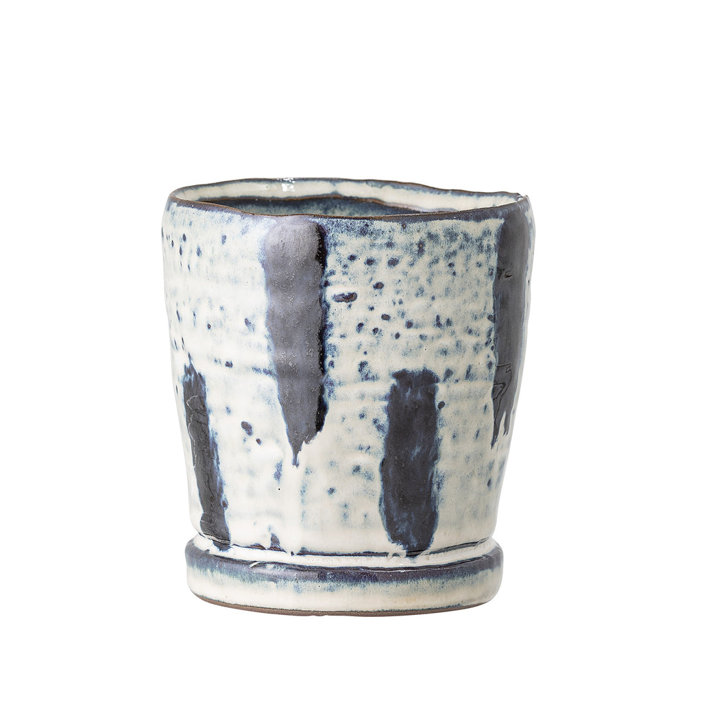 Flowerpot Blue Stoneware Small Bloomingville, - Stripes Fashion and Beauty