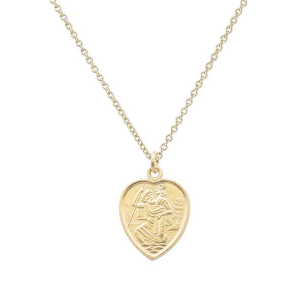 Cabinet Small Heart Safe Travels Necklace Gold Plated Cabinet Jewellery, - Stripes Fashion and Beauty