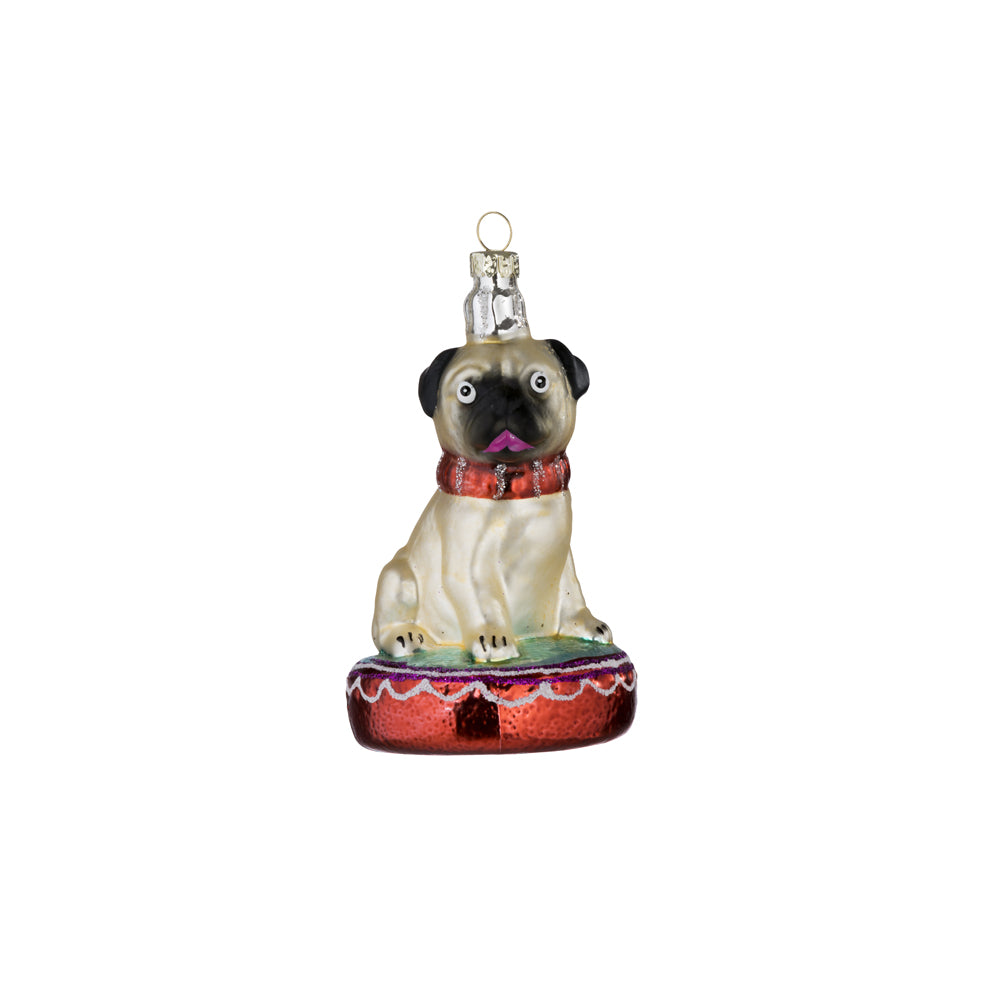 Bungalow Christmas ornament, tree bauble, pug dog bauble, christmas decoration, bungalow denmark