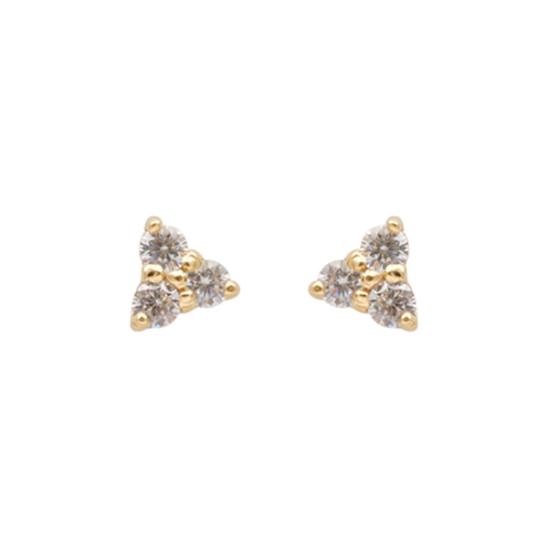 Crystal Trio Stud Earrings Gold Plated Cabinet Jewellery, - Stripes Fashion and Beauty