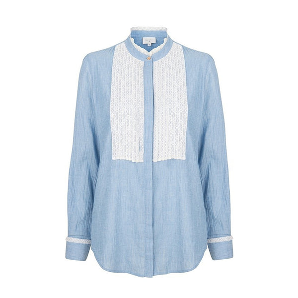 Gamine Blue Lace Placket Blouse Dante6, - Stripes Fashion and Beauty