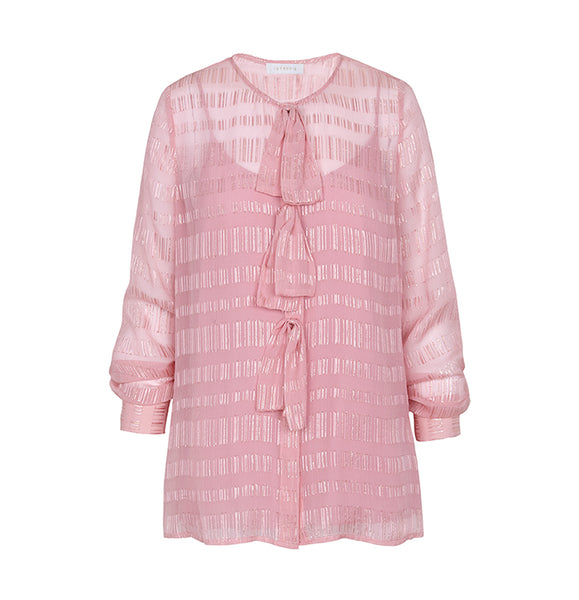 Intropia Pink Bow Blouse Intropia, - Stripes Fashion and Beauty