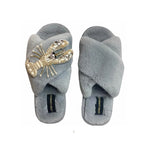 Grey Fluffy Slipper Pearl & Gold Lobster