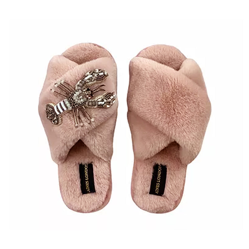 Pink Fluffy Slipper Beaded Lobster