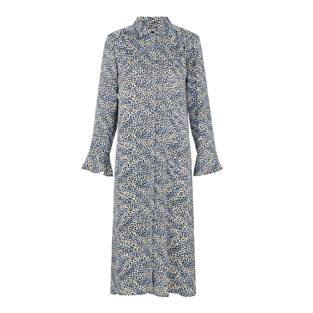 Isa Patterned Dress Blue Levete Room, - Stripes Fashion and Beauty
