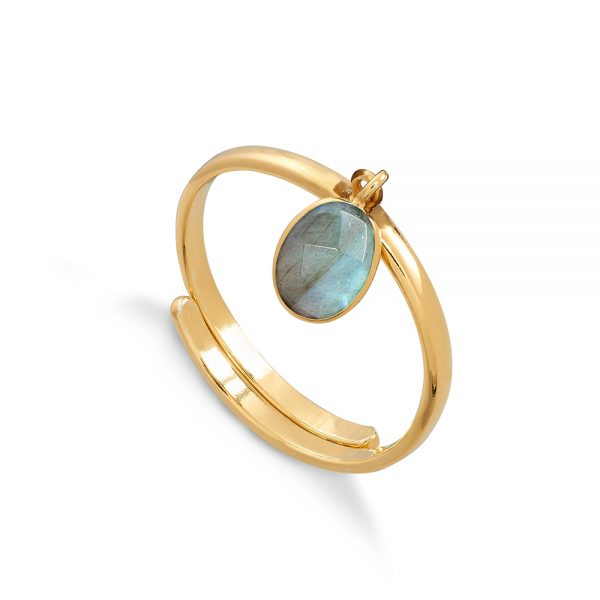 Rio Labradorite Gold Vermeil Ring SVP Jewellery, - Stripes Fashion and Beauty