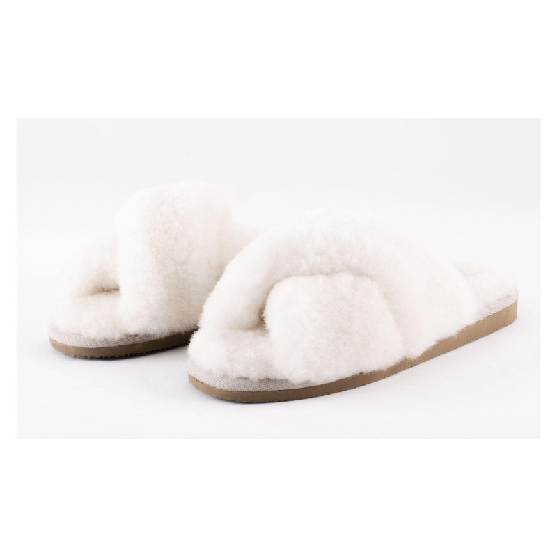 Lovisa Crossover Sheepskin Slippers Natural