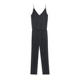 Vapore Black Satin Jumpsuit Swildens, - Stripes Fashion and Beauty