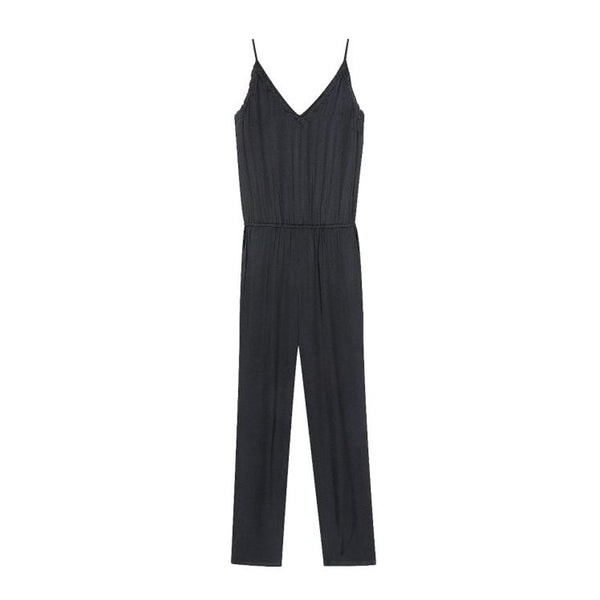 Vapore Black Satin Jumpsuit