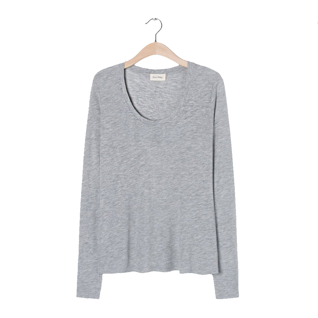 American Vintage JAC49 L/S T-shirt Heather Grey American Vintage, - Stripes Fashion and Beauty