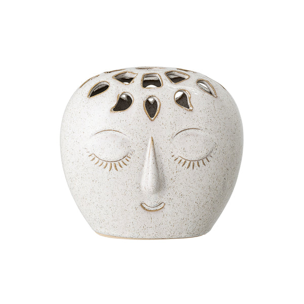 Face Vase, White Stoneware Bloomingville, - Stripes Fashion and Beauty