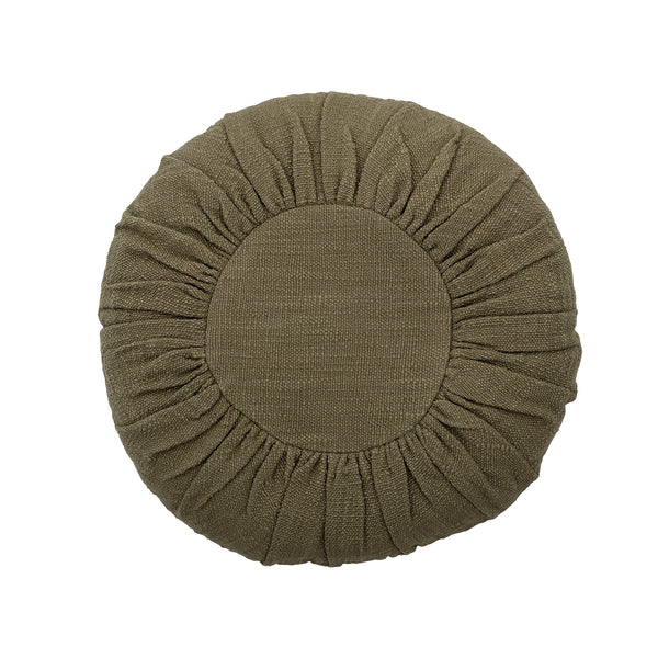 Green Cotton Round Cushion Bloomingville, - Stripes Fashion and Beauty