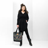 BRGN Bris Poncho Black BRGN, - Stripes Fashion and Beauty