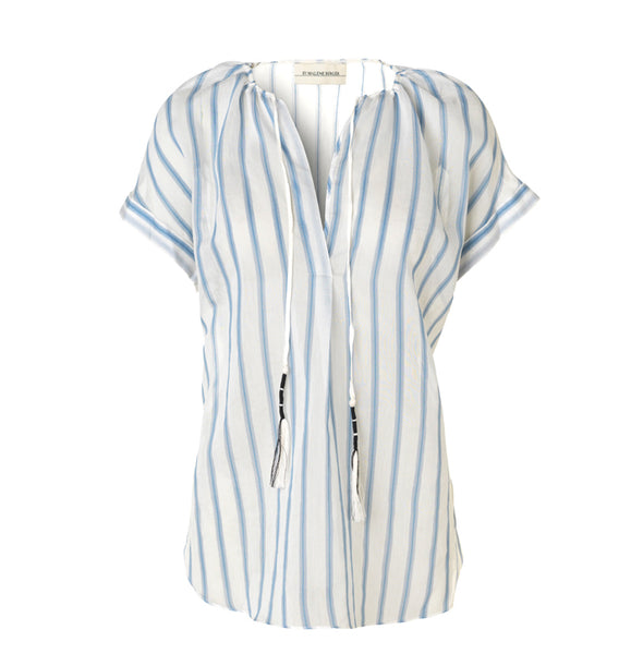 By Malene Birger Caroly Blue Striped Shirt By Malene Birger, - Stripes Fashion and Beauty