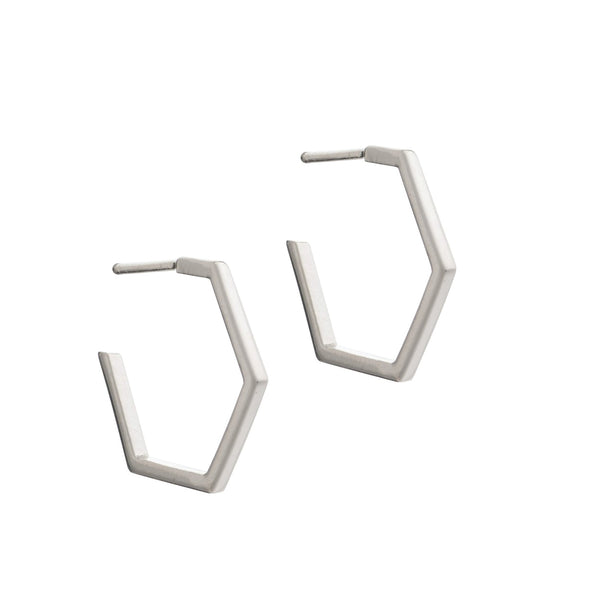 Rachel Jackson Medium Hexagonal Hoop Earrings Silver Rachel Jackson Jewellery, - Stripes Fashion and Beauty