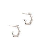 Rachel Jackson Mini Hexagon Hoop Earrings Silver Rachel Jackson Jewellery, - Stripes Fashion and Beauty