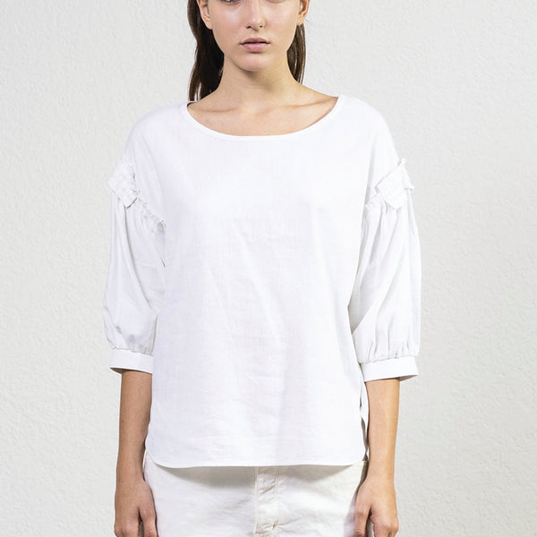 Sack's White Puff Sleeve Top Sack's, - Stripes Fashion and Beauty