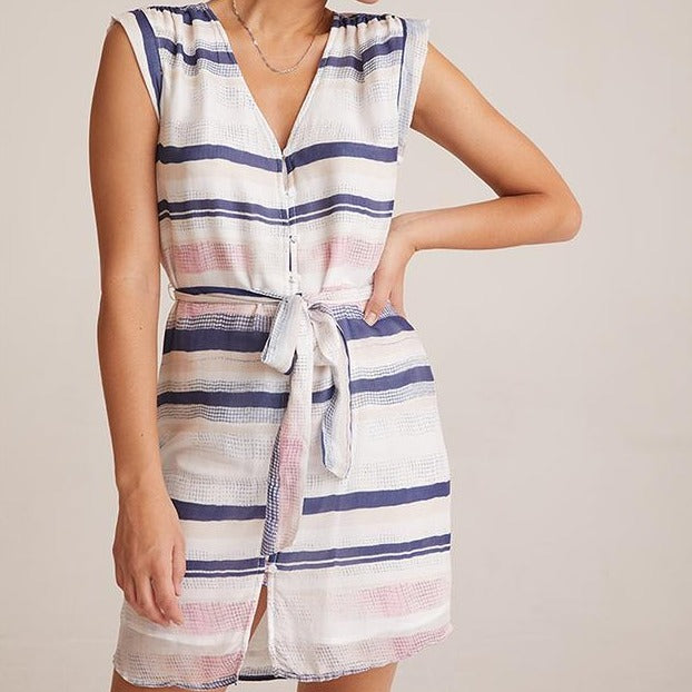 Shirred Cap Sleeve Dress Bella Dahl, - Stripes Fashion and Beauty