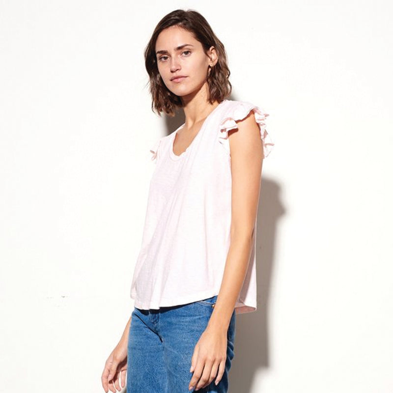Sundry Ruffle Sleeve T-shirt Pink Sundry, - Stripes Fashion and Beauty