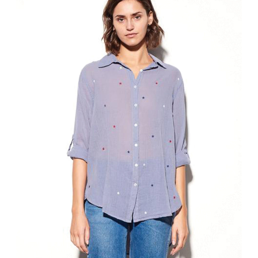 Sundry Stars Shirt Blue Sundry, - Stripes Fashion and Beauty