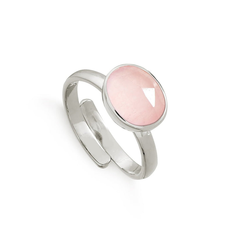 Atomic Midi Rose Quartz Silver Ring