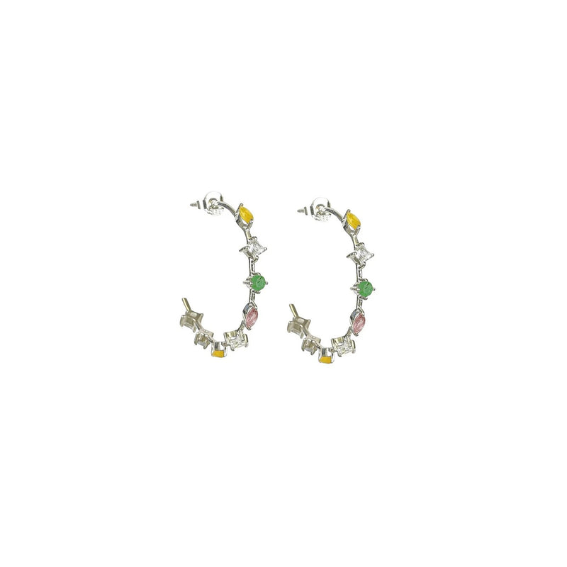 Divine Gemstone Hoop Earrings Silver
