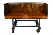 Industrial Cart Sofa With Cowhide Cushions