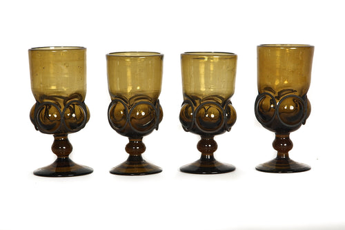 Set of Four Mouth-Blown Glass Goblets with Iron Rings
