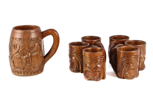 Set of Carved Tiki Mugs and Pitcher
