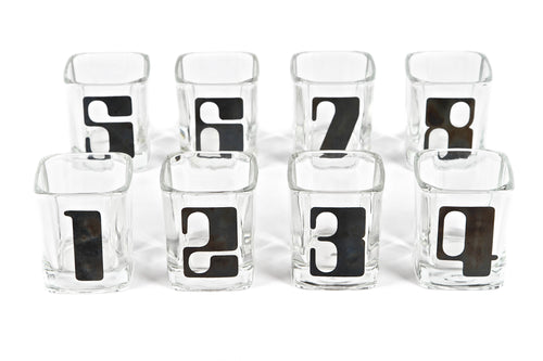 Set of Eight Rare 1960s Numbered Rocks Glasses