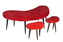 Upholstered Shag Boomerang Coffee Table With Stools